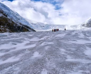 Hiking out across Athabasca Glacier
