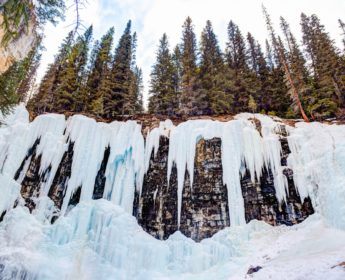 Icicles in Johnston Canyon in Winter