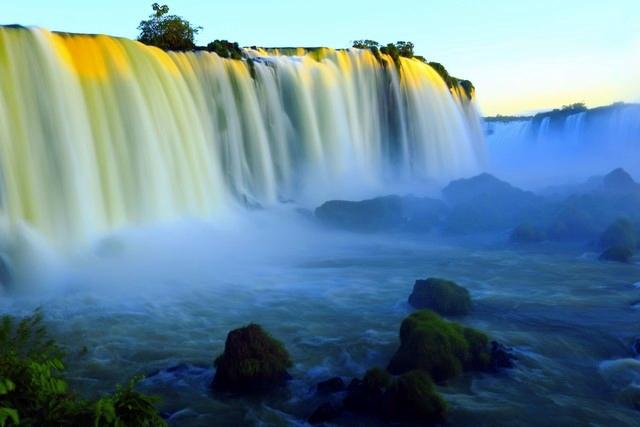 Blurred Iguacu waterfalls at sunset - Brazil / Argentina, South America