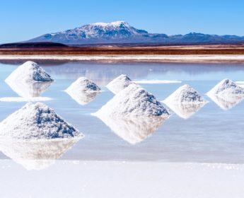 Salt piles along Uyuni