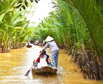 Tourist boat near Ben Tre in Mekong Delta