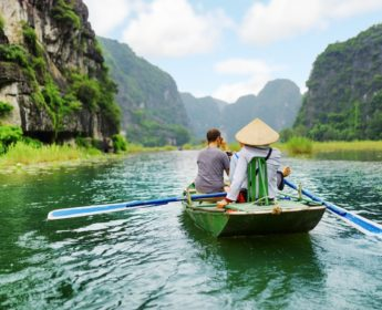 Tourist boat in Ninh Binh Province