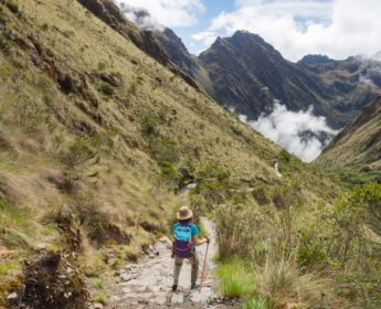 Hiker following the Inc a Trail to Machu Picchu
