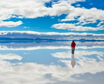 True mirror lake in Uyuni