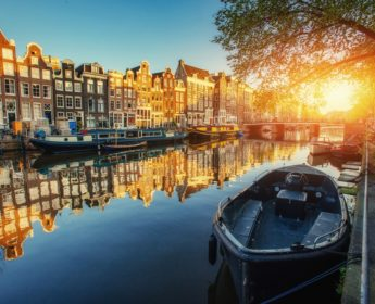 Sunset glow over the canals